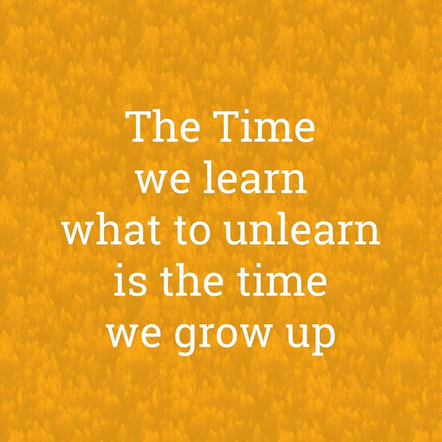 The Time We Learn What to Unlearn Is the Time We Grow Up