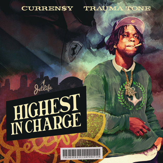 Cover art for album Highest In Charge by Curren$y, Trauma Tone
